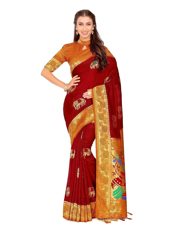 6d0054d7b6aaa6 Amazon.com  Mimosa Art Kuppdam Wedding Silk Saree Kanjivarm Style with Contrast  Blouse Color  Red (4261-RPL-1-2D-MRN-MST)  Clothing
