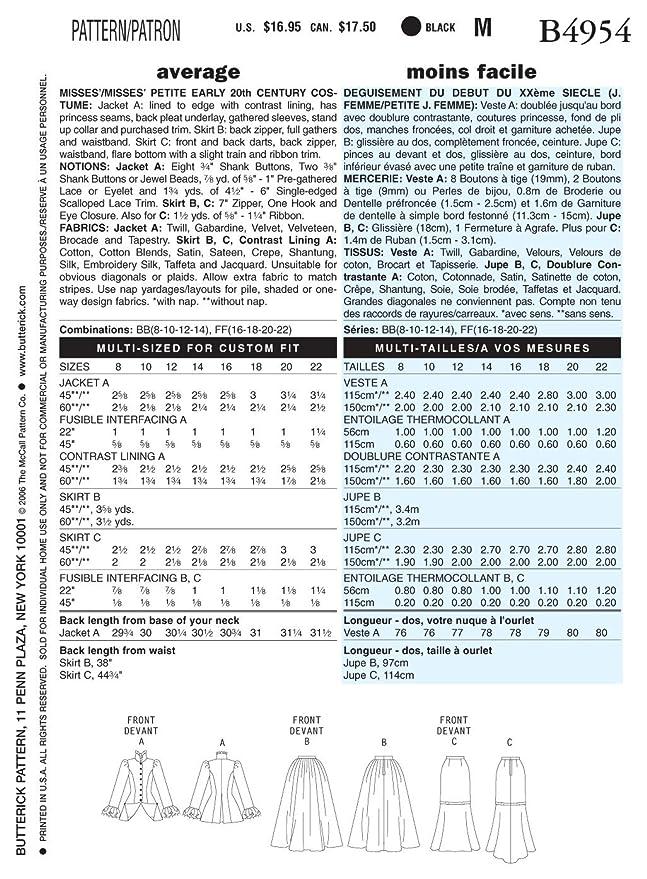 McCall\'s Patterns Butterick B4954 - Patrón con instrucciones para ...