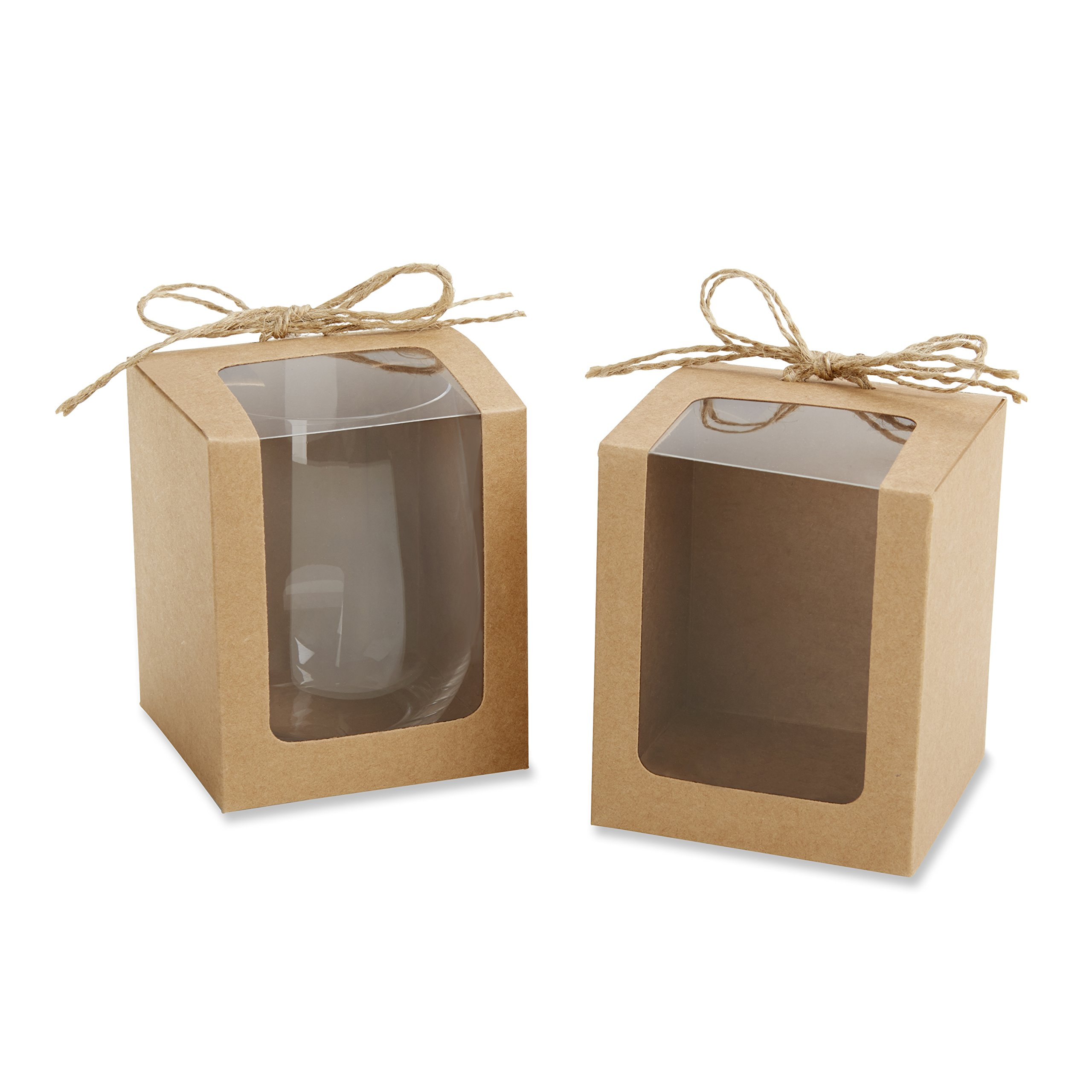 Kate Aspen Kraft Style Display Gift Boxes for Stemless Wine Glass, Wedding/Party Favors, 9-Ounce, Set of 12 by Kate Aspen (Image #1)