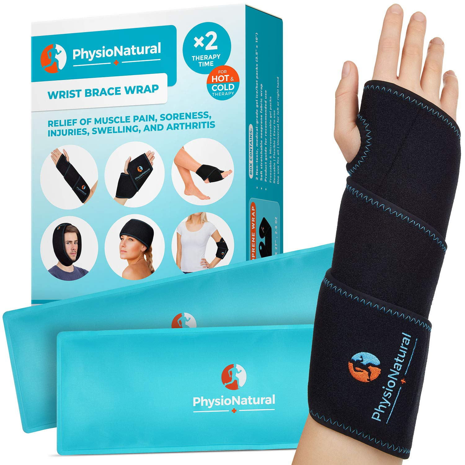 Wrist Ice Pack Wrap - Hot & Cold Therapy for Instant Pain Relief of Carpal Tunnel, Tendonitis, Injuries, Swelling, Rheumatoid Arthritis, Bruises & Sprains - Hand Support Brace with Reusable Gel Packs by PhysioNatural