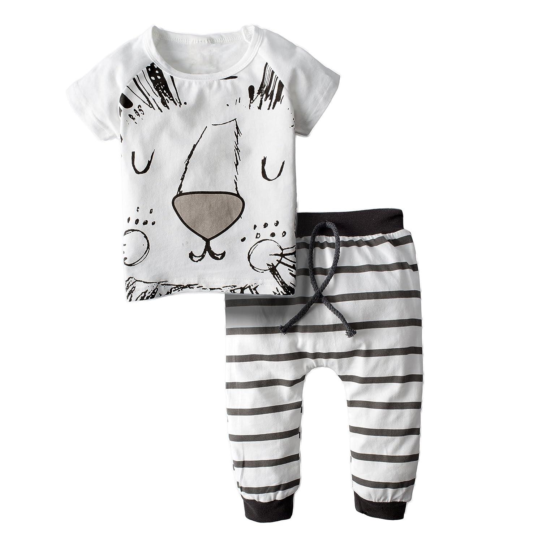 BIG ELEPHANT Bebés 2 piezas lindo león de manga corta pantalones conjunto de ropa H79 H79-70