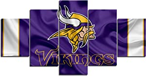 Minnesota Vikings NFL Foolball Art Canvas Posters Home Decor Wall Art Framework 5 Pieces Paintings for Living Room HD Prints Sports Pictures (S,No Framed)