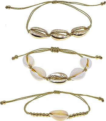 Gold Cowrie Shell Beach Friendship Bracelet Sea Boho Summer Seashell FREE Gift