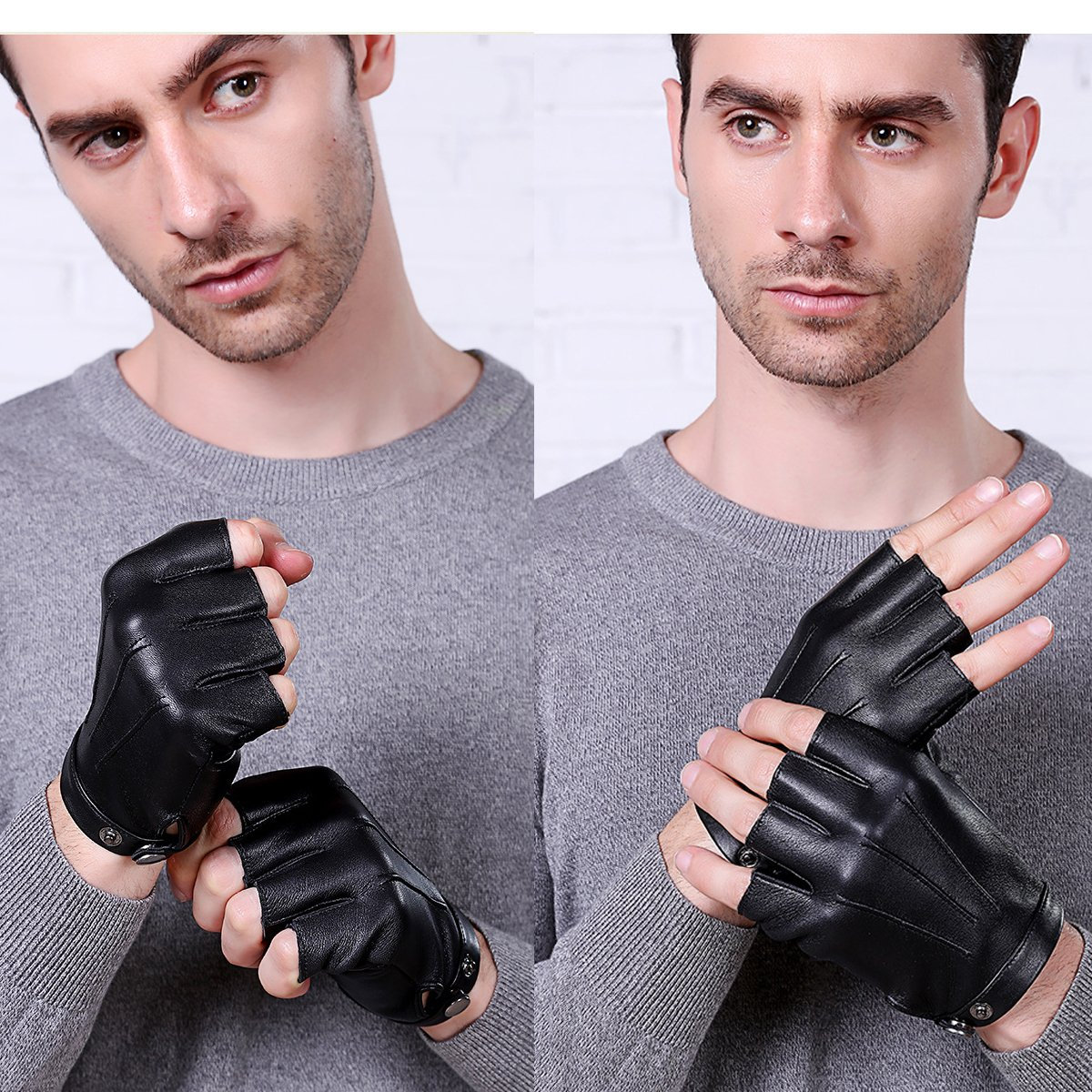 Fingerless Gloves PU Leather Gloves Touchscreen Texting Dress Driving Moto Glove for Men Women Teens (L) by gloveslove (Image #6)