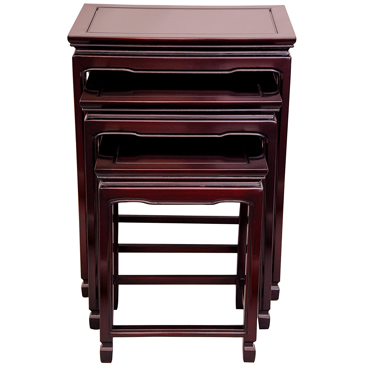 Amazon com oriental furniture rosewood nesting tables antique black kitchen dining