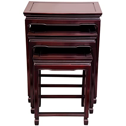 Incroyable ORIENTAL FURNITURE Rosewood Nesting Tables   Rosewood