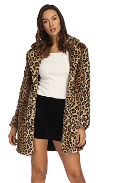 830cc247183 Luodemiss Women's Leopard Faux Fur Coat Winter Outerwear Long Sleeves Warm  Jacket Sexy Lapel Overcoat at Amazon Women's Coats Shop