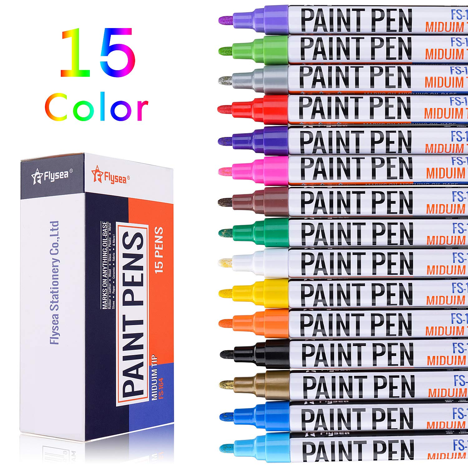 Acrylic Paint pens, EKKONG Permanent Paint Markers for Rock, Wood, Metal, Plastic, Glass, Canvas, Ceramic & More! Medium Tip with Quick Dry, Water Resistant Ink(15 Pack) by EKKONG