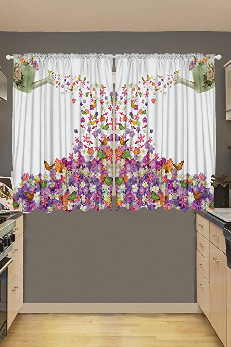 Amazoncom Ambesonne Kitchen Curtains Flowers In The Pot And