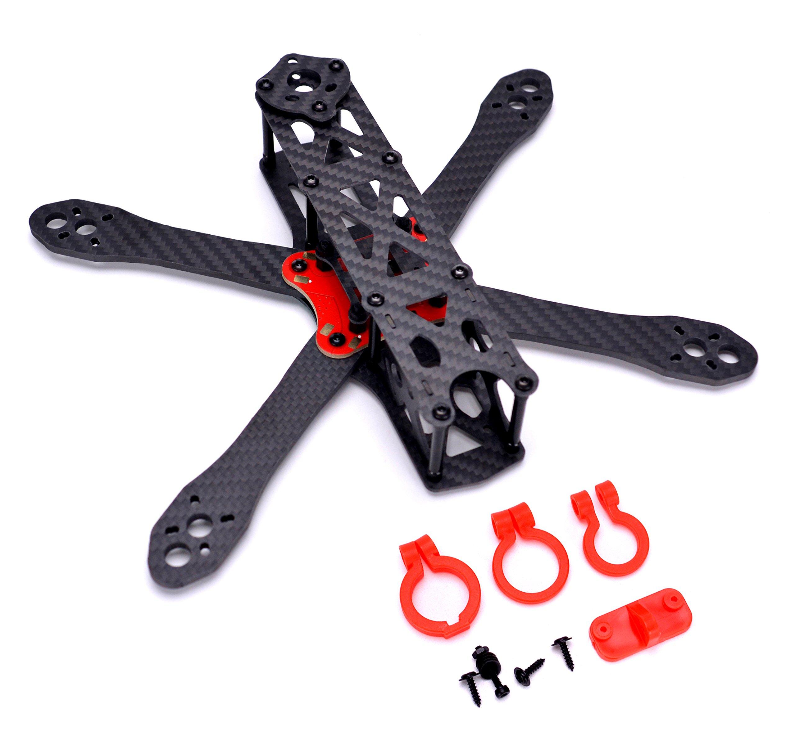 FPVDrone 225mm FPV Racing Drone Frame Stretch-X Carbon Fiber Quadcopter Frame Kit 4mm Arm+Power Distribution Board PDB+FPV Camera Lens Holder Set