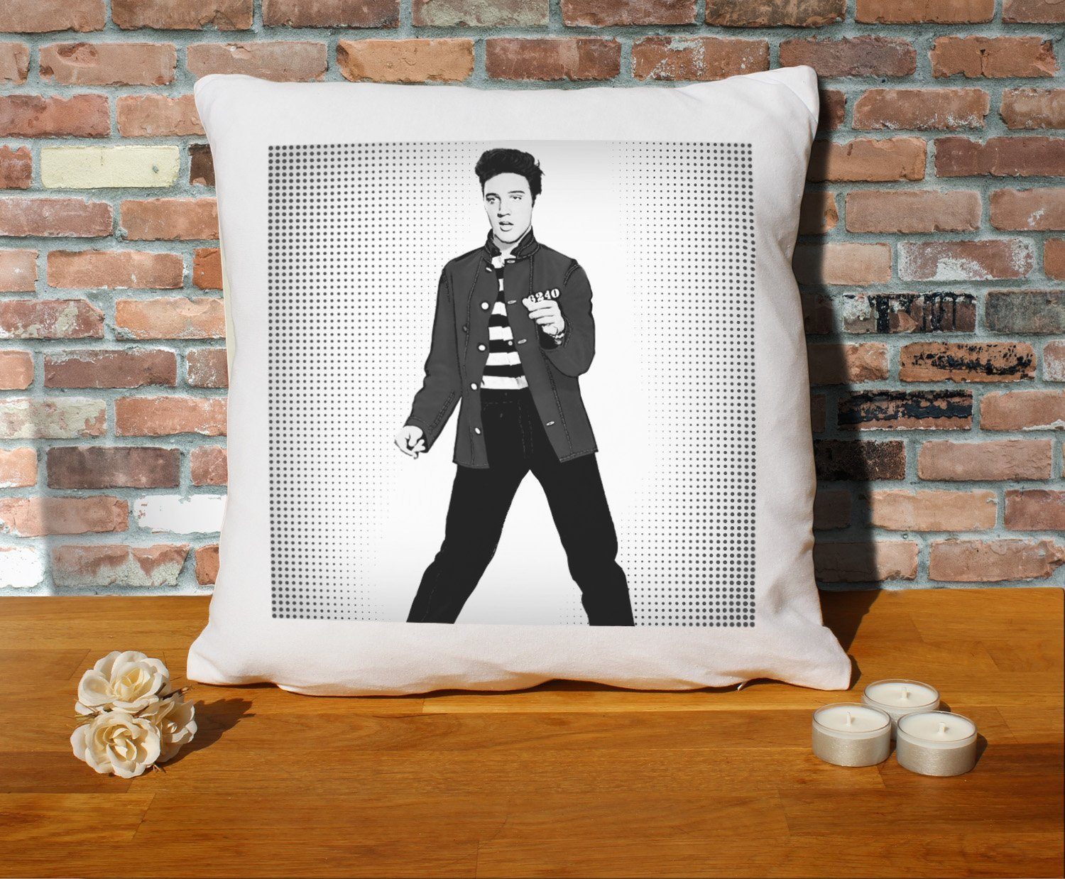 Elvis Presley Cushion Pillow - Pop Art - 100% Cotton - Available with or without filling pad - 40x40cm (Cover and Cushion filling pad) The Stocking Fillers