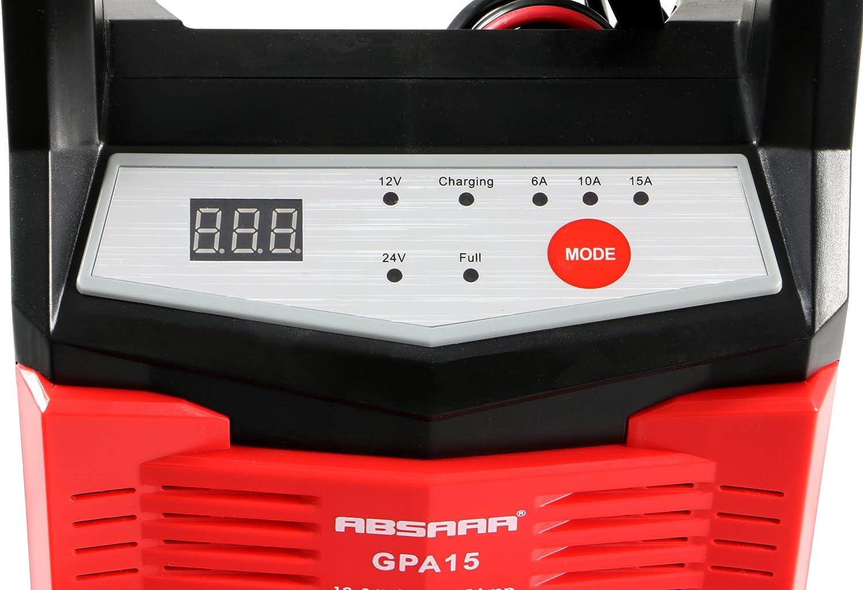 /1215/Cargador autom/ático de bater/ías gpa15/Incluye Aislado Pinzas protecci/ón contra polarizaci/ón inversa y Cortocircuito Ich erung Absaar AB100/