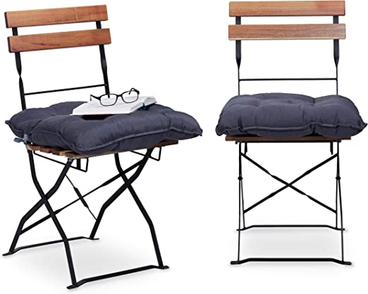 Relaxdays 10023471_111 Set 2 Cuscini da Seduta per Sedie da Giardino 45 x 45 cm con Nastro, Comoda Imbottitura per Esterni e Interni, Grigio