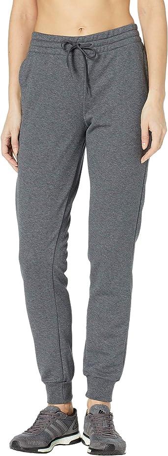 adidas Women's Essentials Linear Pants, Dark Grey Heather/True Pink, X-Large
