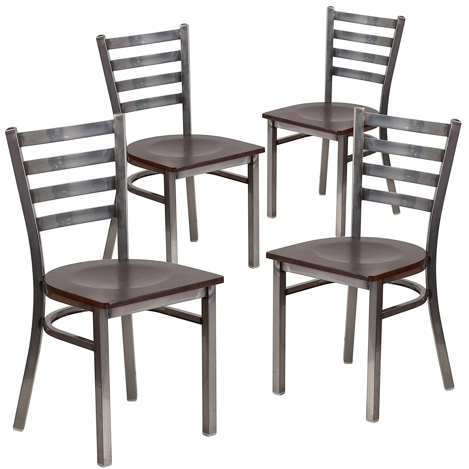Flash Furniture 4 Pk. HERCULES Series Clear Coated Ladder Back Metal Restaurant Chair – Walnut Wood Seat