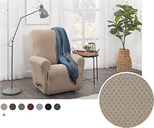 Maytex Pixel Ultra Soft Stretch 4 Piece Recliner Arm Chair Furniture Cover Slipcover With Side Pocket Sand