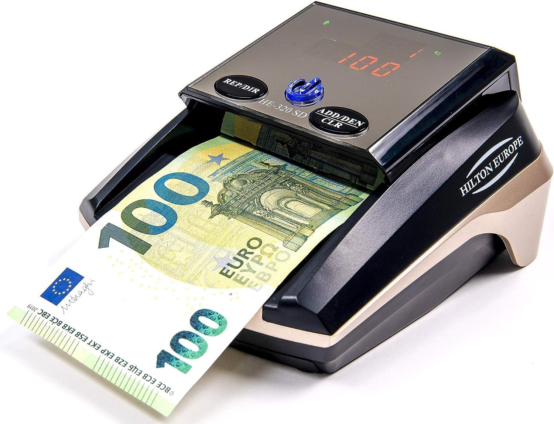 HILTON EUROPE   HE-320B SD Detector Automático Billetes Falsos 100% testado No necesita actualización Divisa EURO 8 SISTEMAS DE DETECCIÓN (Sin Batería)