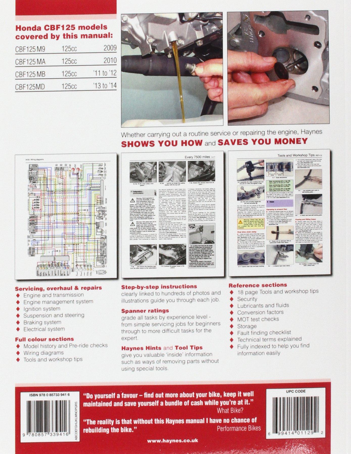honda cbf125 2009 20 14 haynes service and repair manuals amazon rh amazon co uk honda cbf 125 haynes manual pdf honda cbf 125 service manual pdf