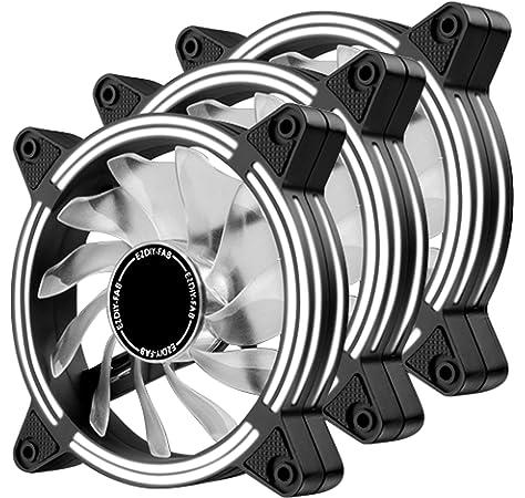 EZDIY-FAB Ventilador LED de 120 mm,Ventilador de Caja de Doble Marco LED para Cajas de PC,silencioso de Alto Flujo de Aire,enfriadores de CPU y radiadores,Blanco 3-Pin-3-Pack: Amazon.es: Electrónica