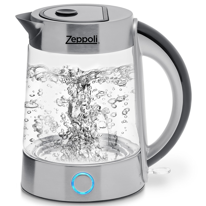 Zeppoli Electric Kettle (BPA Free) - Fast Boiling Glass Tea Kettle (1.7L) Cordless, Stainless Steel Finish Hot Water Kettle – Glass Tea Kettle, Tea Pot – Hot Water Heater Dispenser Equinox International RYL-KETTLE