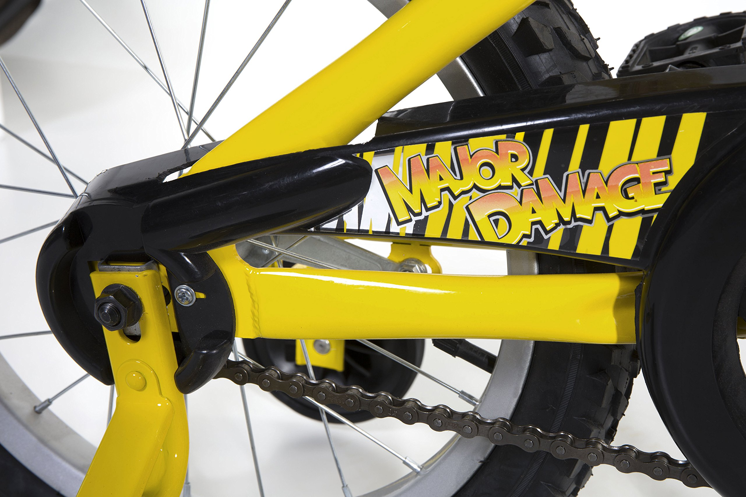 Dynacraft Magna Major Damage Boys BMX Street/Dirt Bike 16'', Yellow/Black