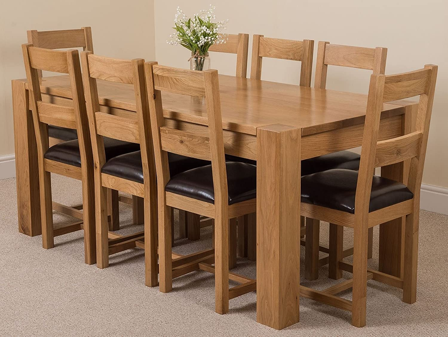 Oak Furniture King Kuba 180 X 90cm Chunky Oak Dining Table With 8 Chairs Dining Set Lincoln Chairs Amazon Co Uk Kitchen Home