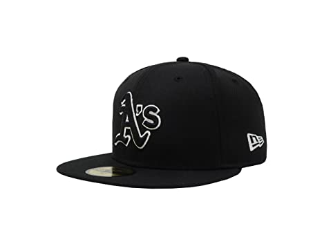 New Era 59Fifty Hat MLB Oakland Athletics Black Fitted Headwear Cap (7) 4482479876c