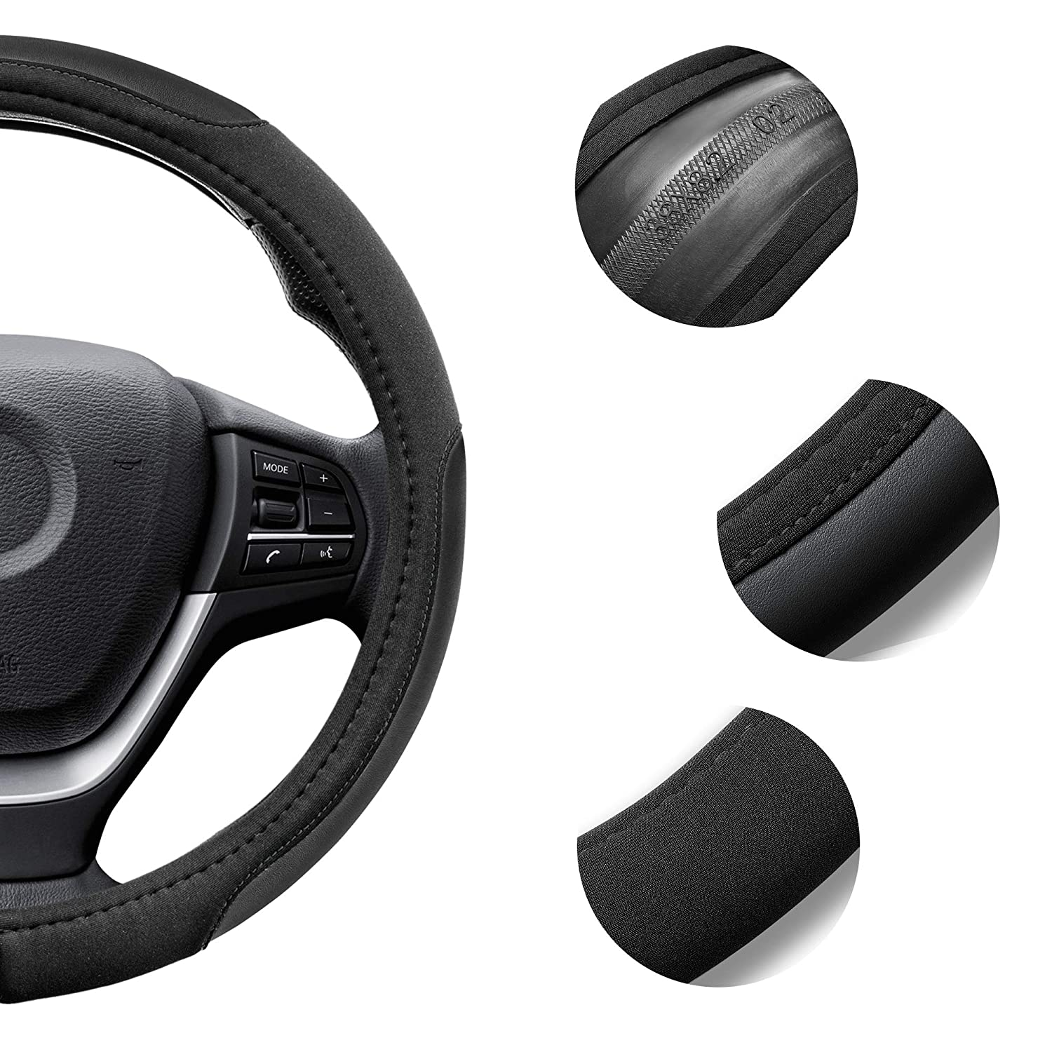 Elantrip Black Microfiber Leather Steering Wheel Cover 14 1//2 inch to 15 inch