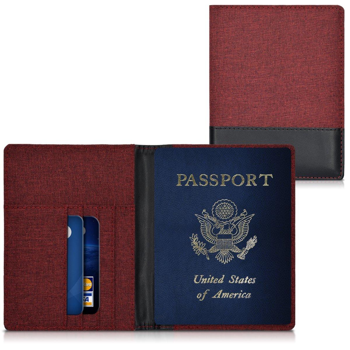 Portefeuille Passeport /Étui de Protection Simili Cuir Marron kwmobile Porte-Passeport avec Compartiments Cartes avec Emplacement Carte Bleue