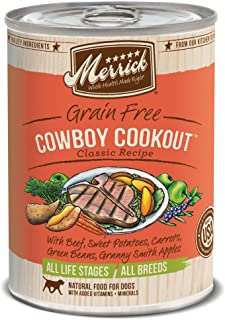 product image for Merrick Classic Grain Free Canned Dog Food, 13,2 Oz, 12 Count Cowboy Cookout
