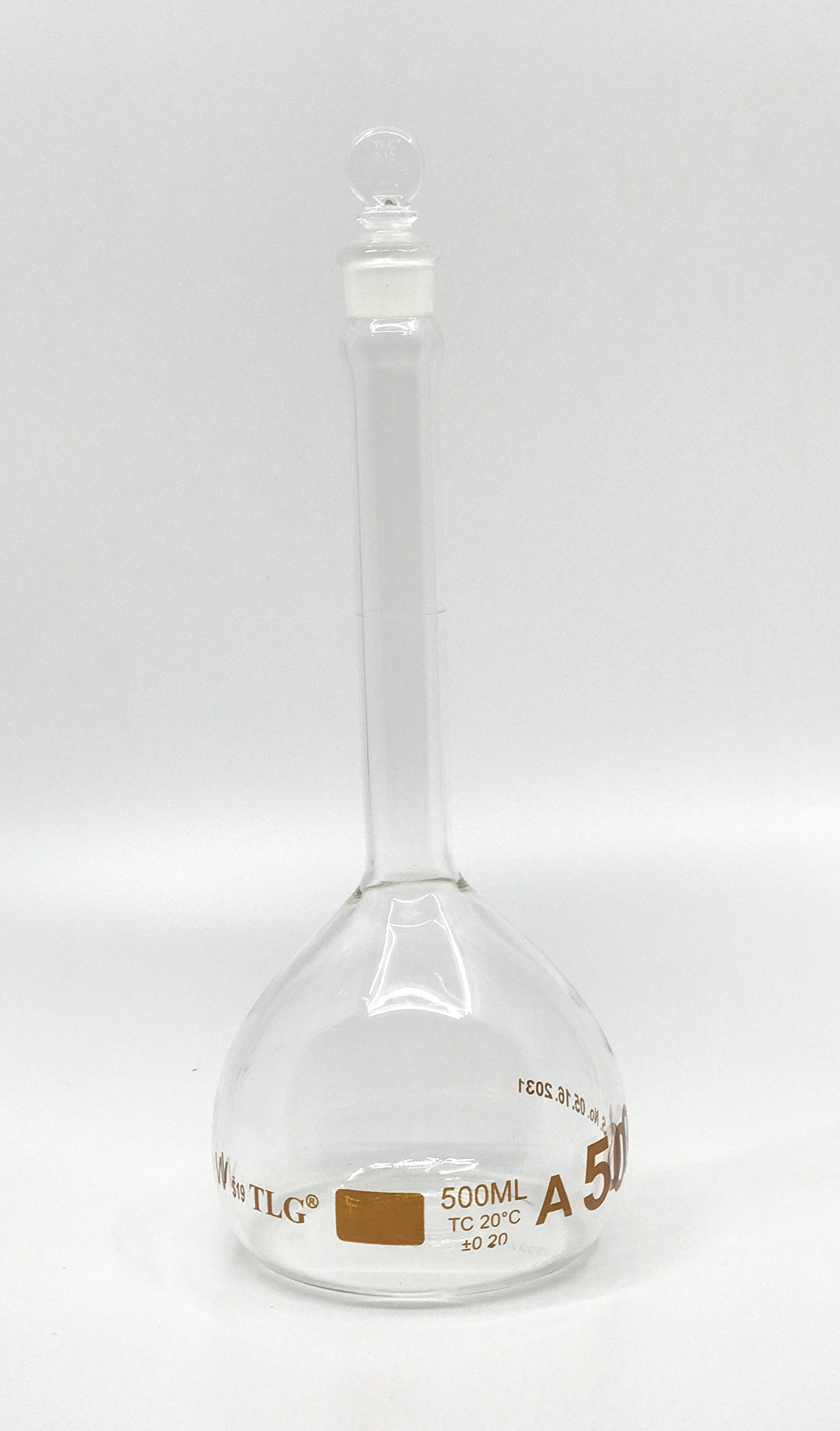 CHEM SCIENCE INC 129.303.08 Volumetric Flask with One Graduation Mark Class A, Wide Mouth, Capacity 500 mL, Glass Stopper Size # 19