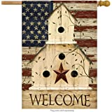 "Americana Welcome House Flag Primitive Patriotic 28"" x 40"" Briarwood Lane"
