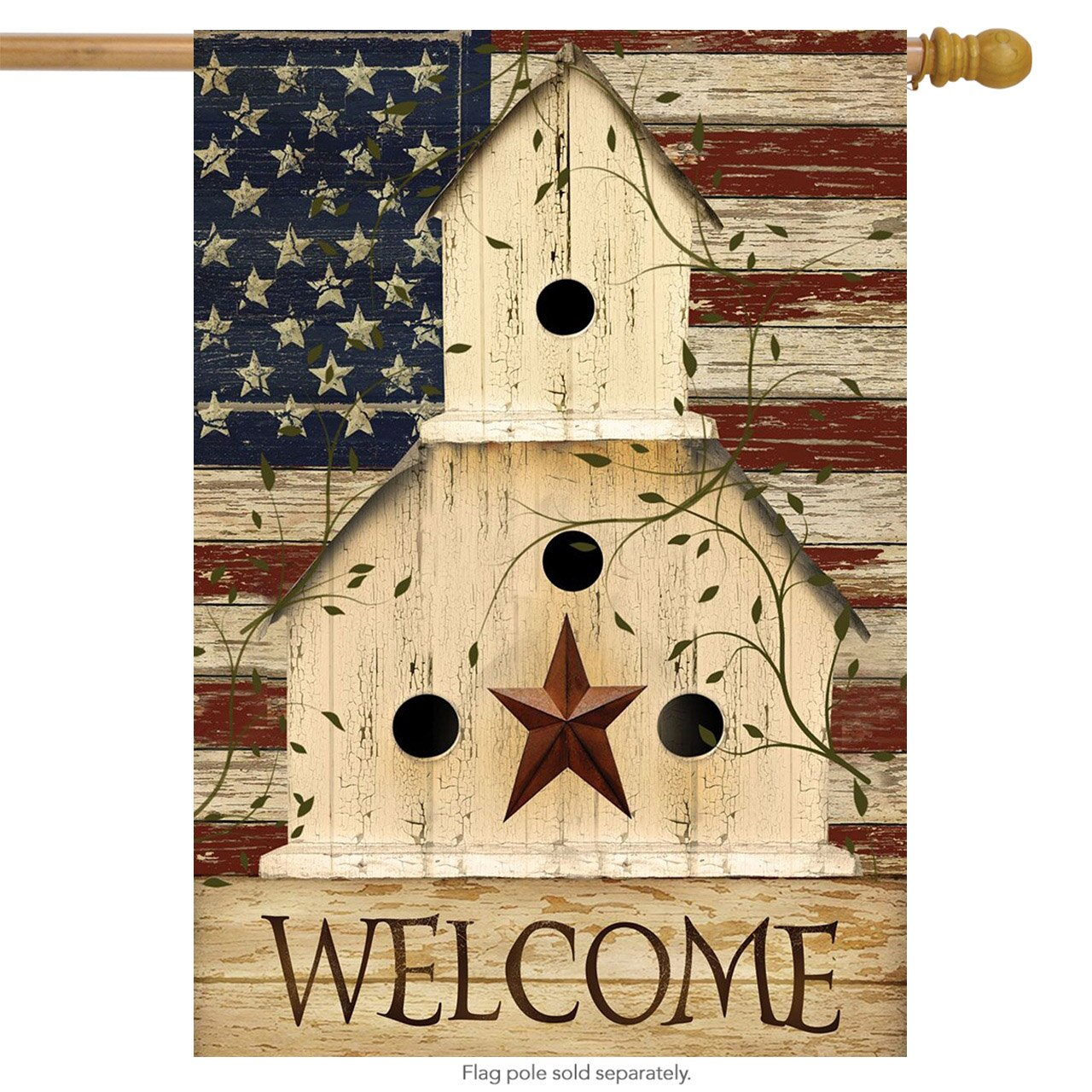 "Briarwood Lane Americana Welcome House Flag Primitive Patriotic 28"" x 40"""