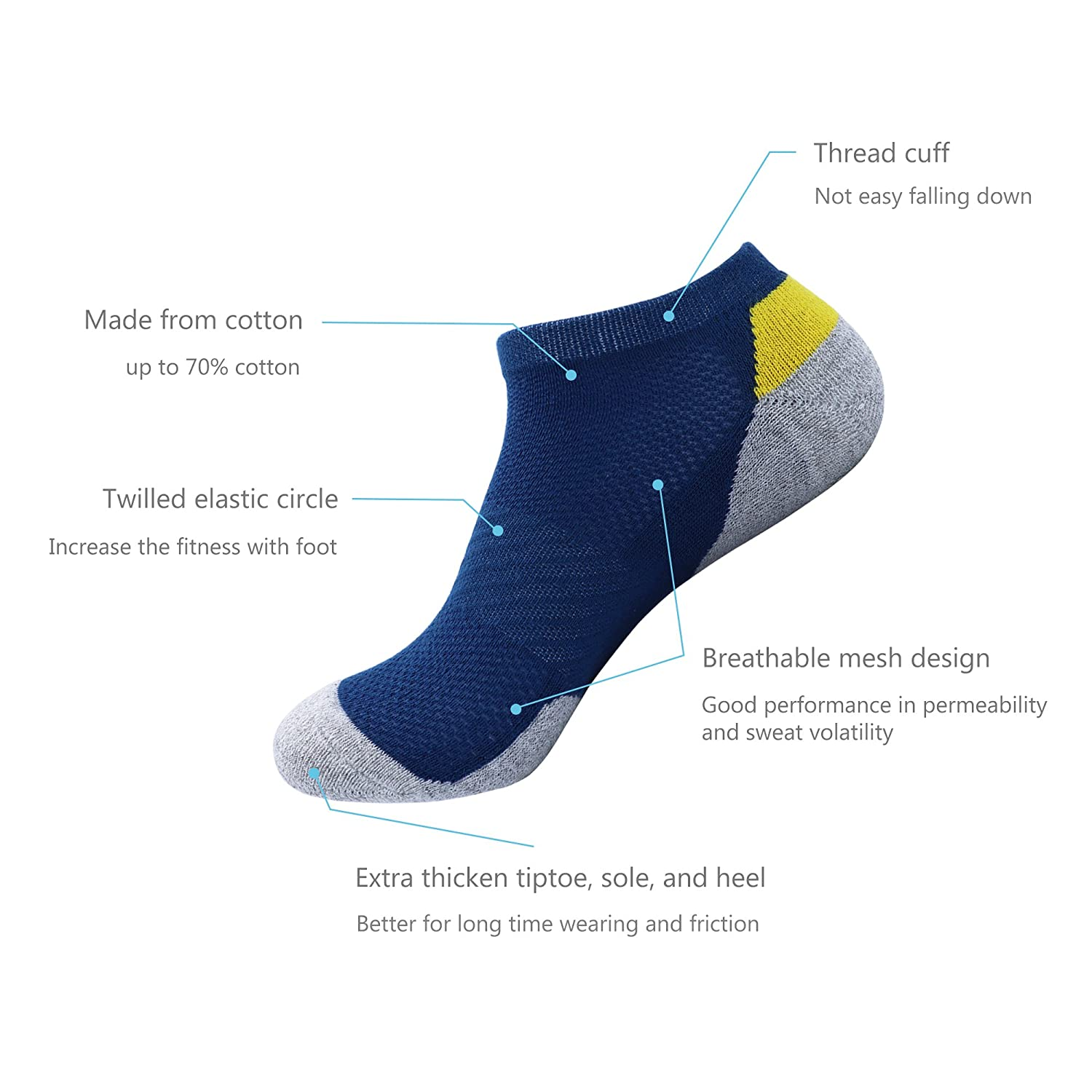 Hiking Thick Breathable Socks for Walking Climbing and Running Ankle Socks Jogging REAMTOP 5prs Athletic Men Socks