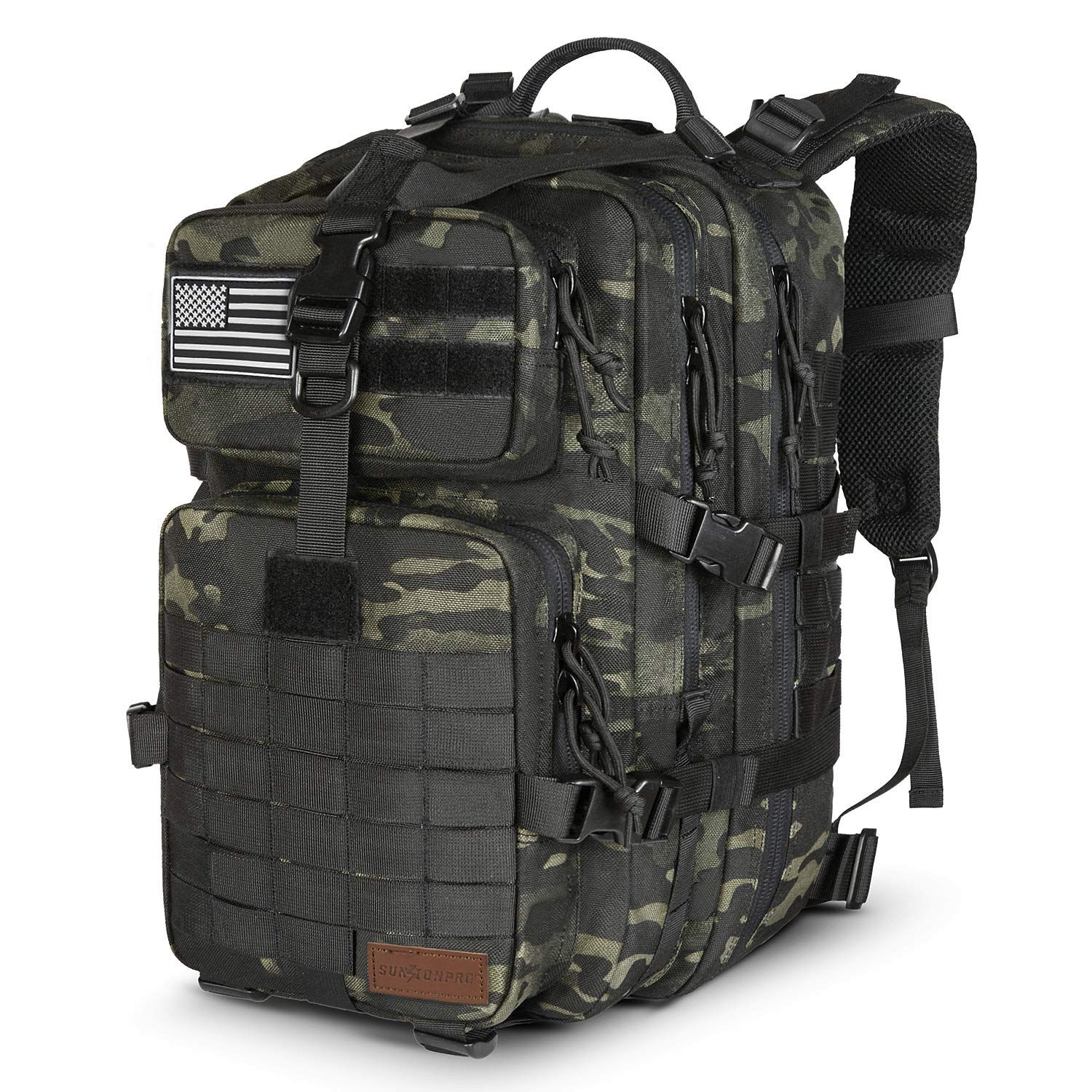 SunsionPro MTB-231 Military Tactical Backpack Large Army 3 Day Assault Pack Molle Bag Travel Rucksacks for Outdoor Hiking Camping Trekking Hunting, 43L (Black Multicam)