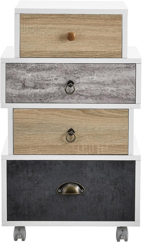 en.casa Sideboard con 4 cassetti Retro Highboard//Cassettone Bianco//Rovere