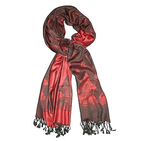 0c03841bd8f9 Écharpe Himalaya Shiva Symbole Om Foulard Noir Rouge 200x70cm Châle Etole  Soie artificielle Accessoire Vêtement