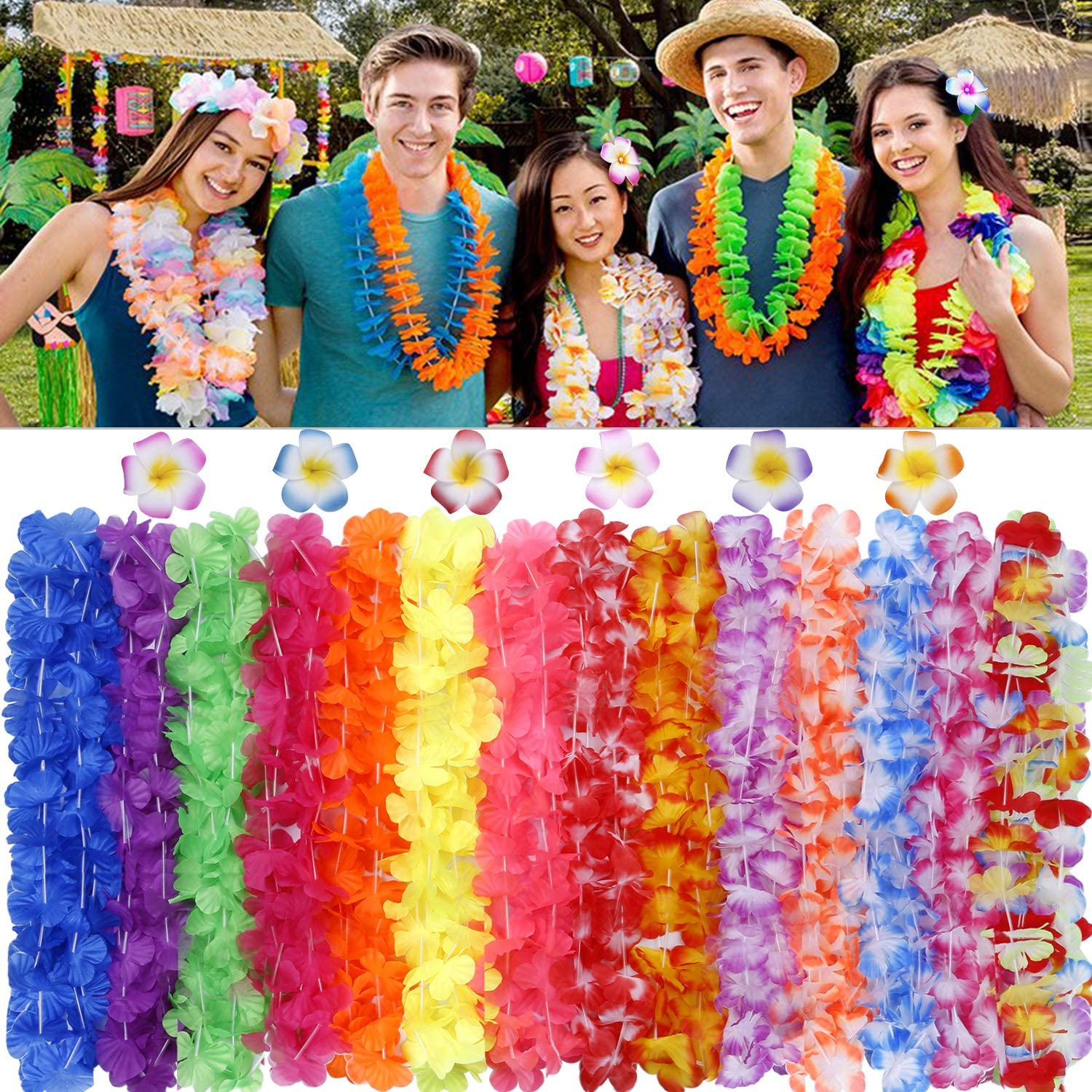 GINMIC Hawaiian Leis, Luau Party Favors Supplies, 50Pcs Tropical Hawaiian Party Necklace with 6 Lei Hair Clips,For Kids or Adults Party Supplies, Summer Beach Vacation, Theme Party Decorations, Birthday, Wedding