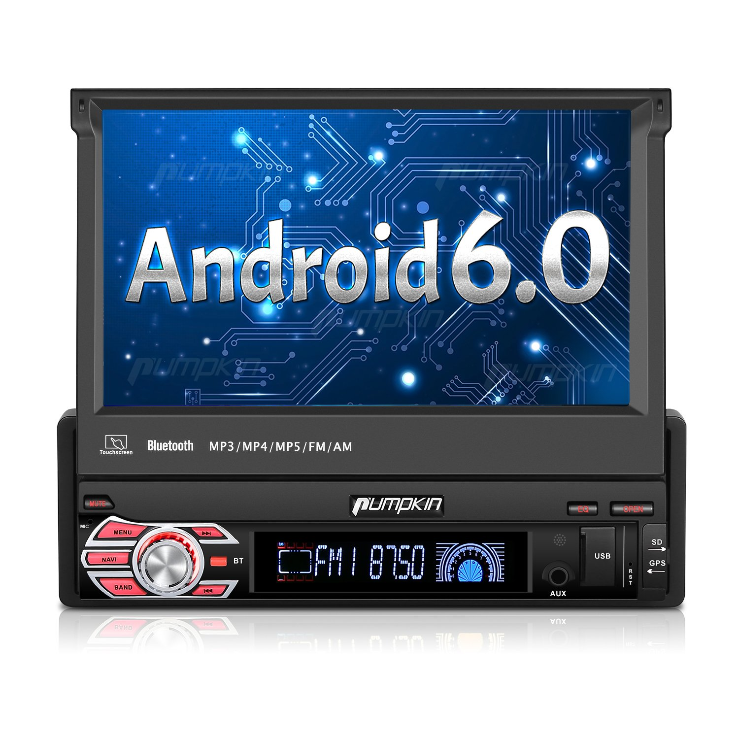 Single Din Android Car Stereo - 1 Din Flip Out Touch Screen Radio with Bluetooth, Support GPS Navigation, MirrorLink, WIFI 3G, SD/USB, Backup Camera, OBD2, 1080P, AV-Out, Subwoofer, SWC by PUMPKIN