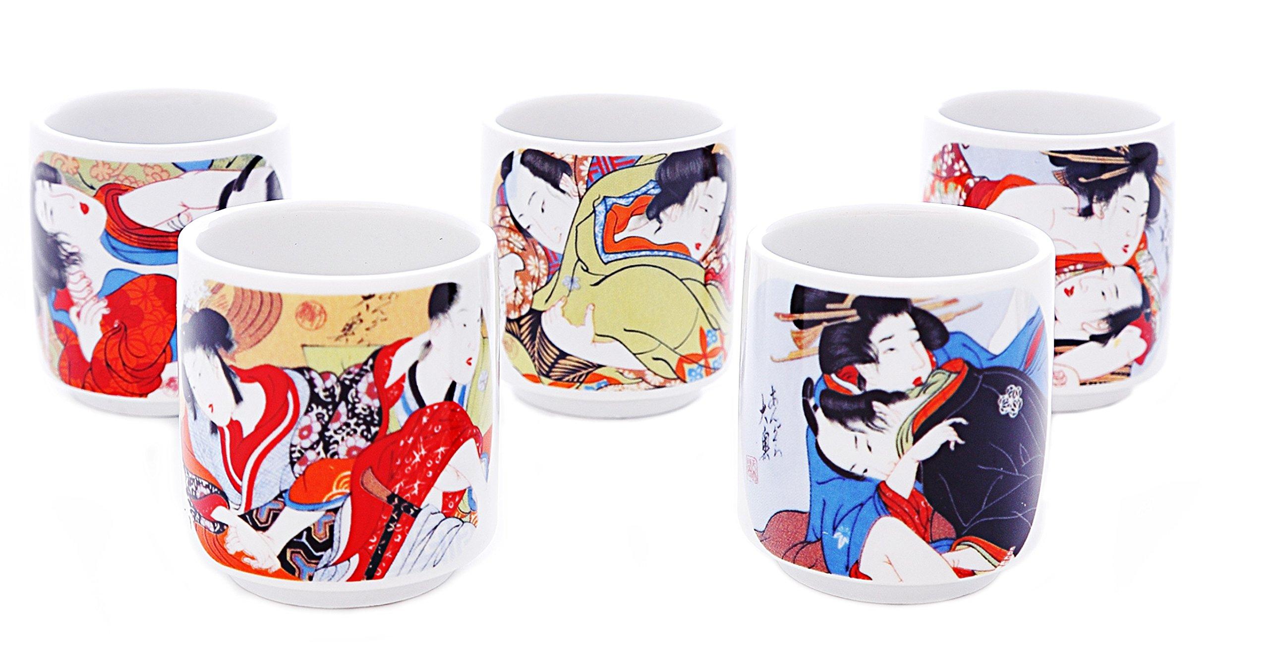 5 PCS CERAMIC JAPANESE SAKE CUPS GUINOMI (EROTIC ART)