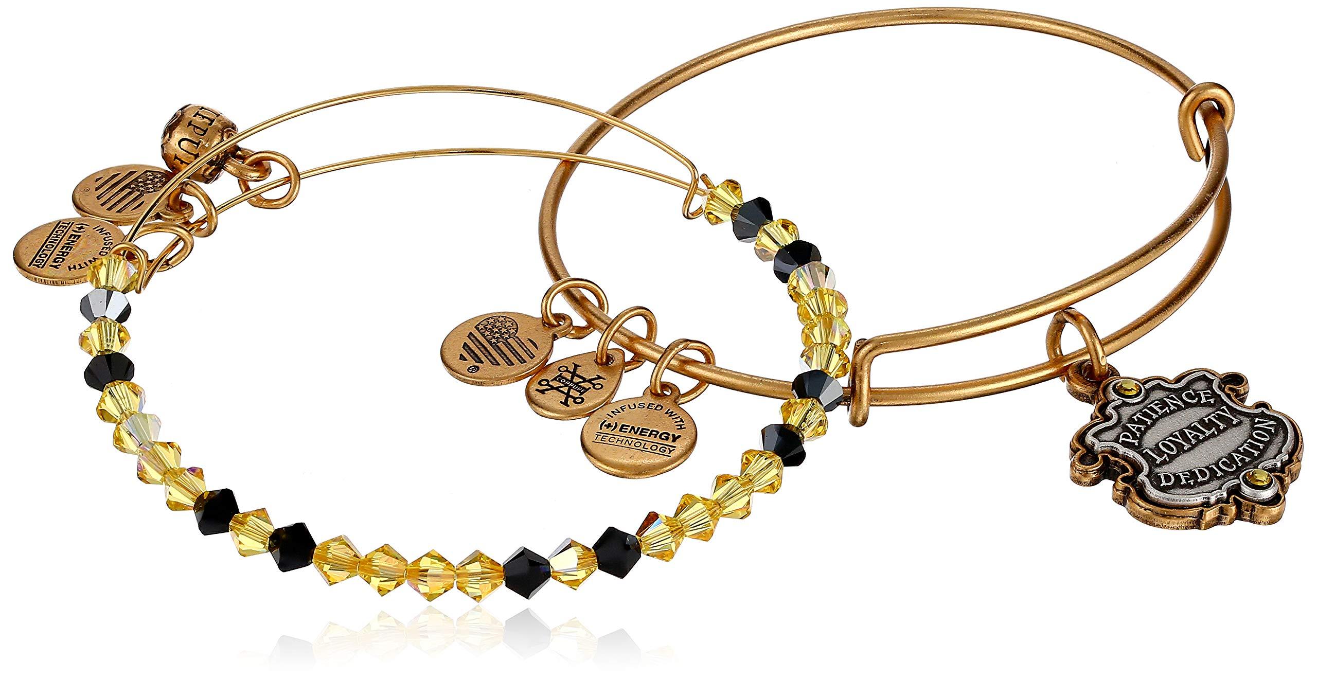 Alex and Ani Women's Harry Potter Hufflepuff Motto Set of 2 Two Tone Bracelet, Rafaelian Gold, Expandable