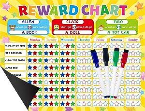 Magnetic Chore Chart for Multiple Kids Responsibility Chart Good Behavior Star Reward for Home