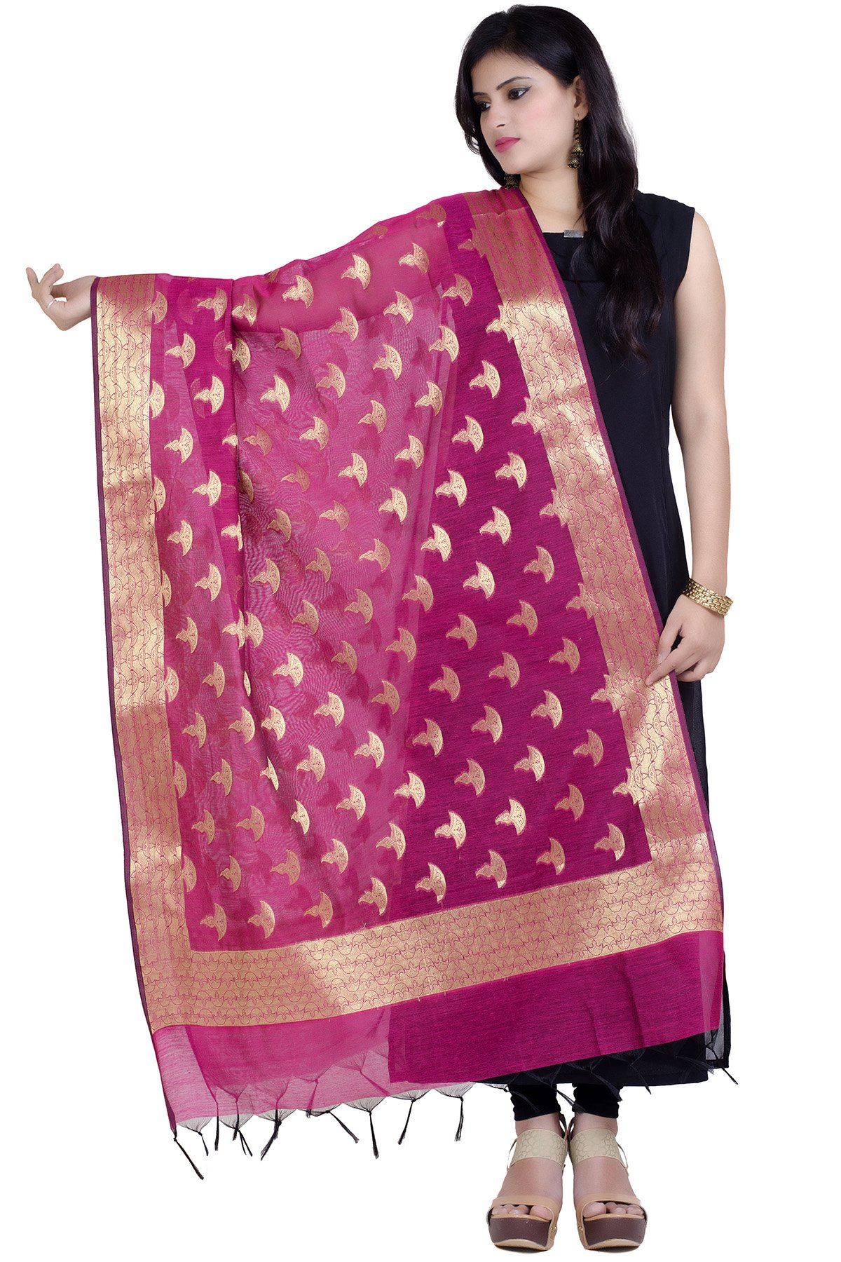 Chandrakala Women's Handwoven Zari Work Banarasi Dupatta Stole Scarf (Magenta)