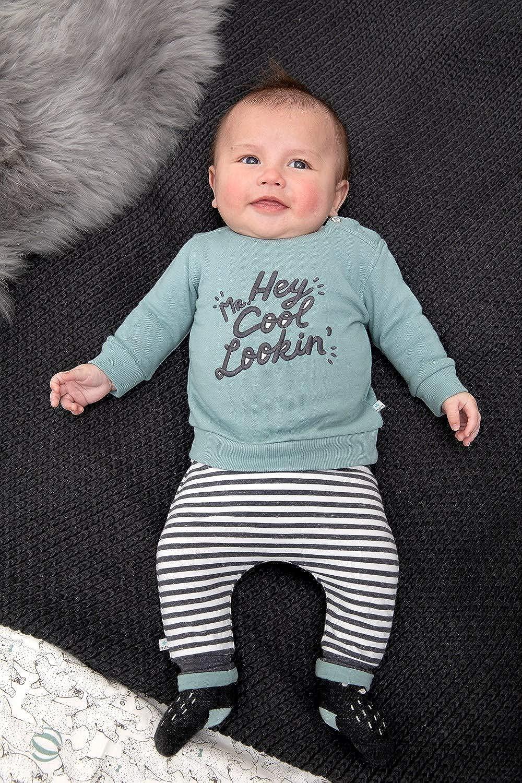 Feetje Kuscheliger Sweater in Grey Mint mit Spruch Stick auf der Front 1305
