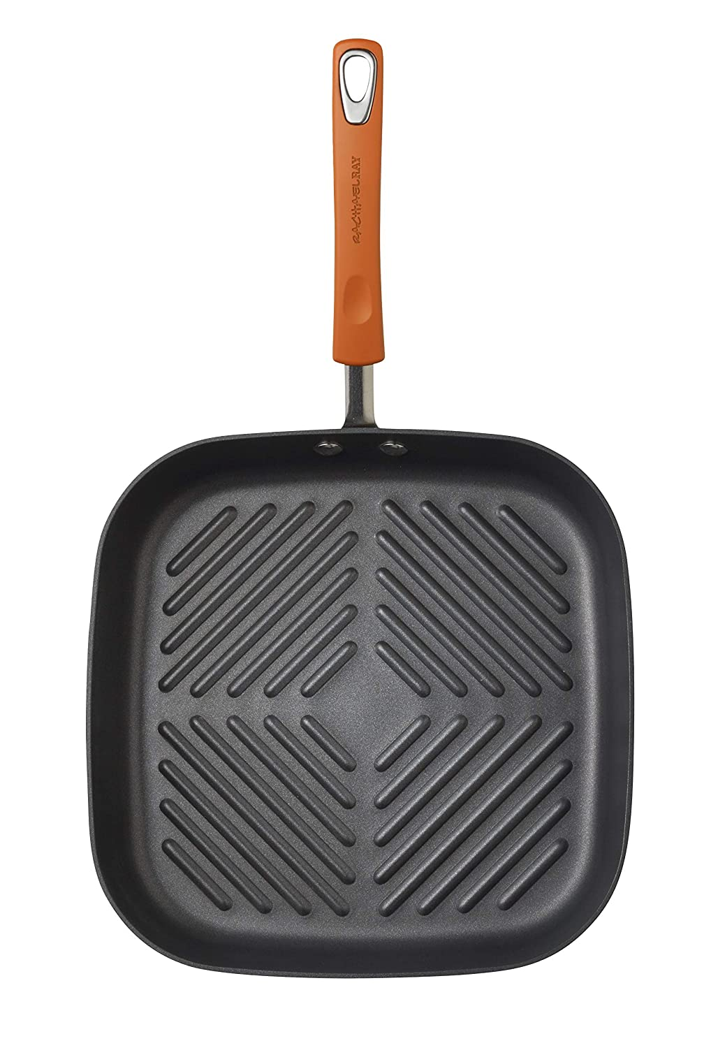 Rachael Ray Hard Anodized II Nonstick Dishwasher Safe 11-Inch Deep Square Grill Pan Orange