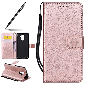 Funda para Samsung Galaxy A6 Plus Billetera PU,Uposao Slim Flip Case Libro Funda de Cuero Leather Retro Elegante Mandala Carcasa Soporte Plegable ...