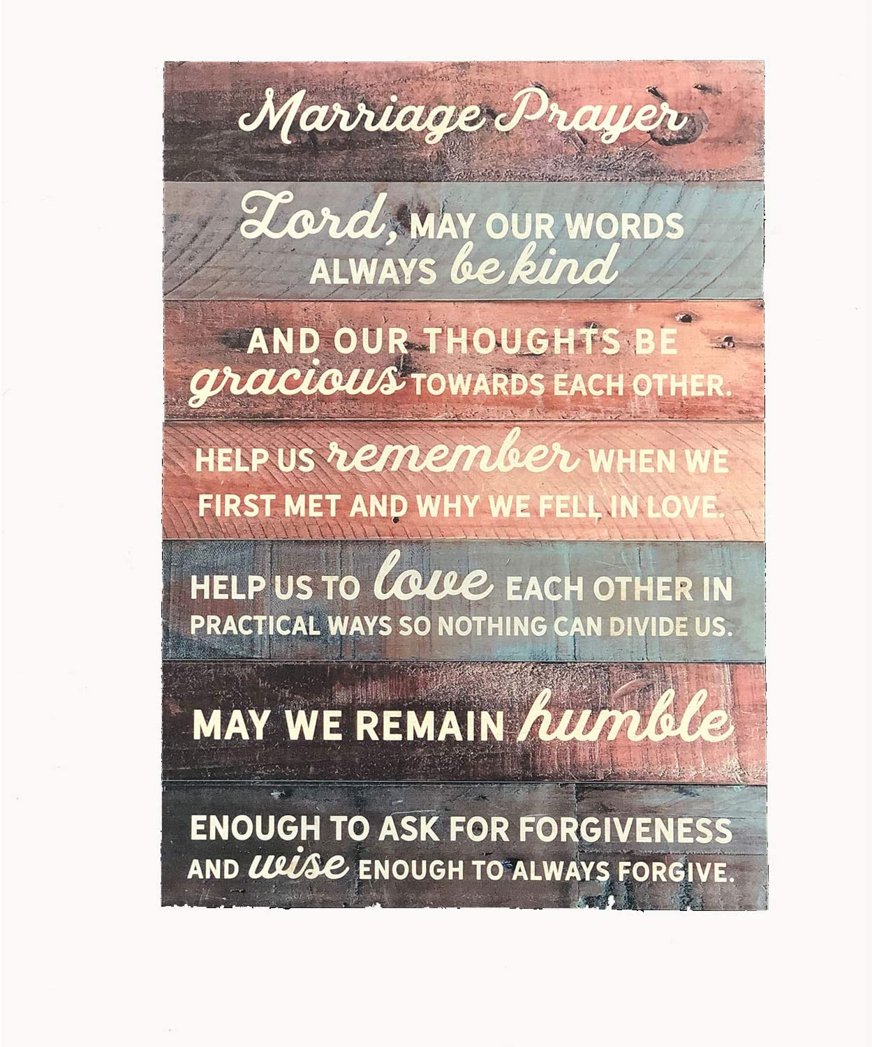 "Ollie West Real Wood Marriage Prayer Sign - 12"" x 17"" - Charming Wedding for Couple - Rustic Pallet Marriage Prayer Wall Decor - Christian Decor - Religious Wall Decor - Newlywed Gift"