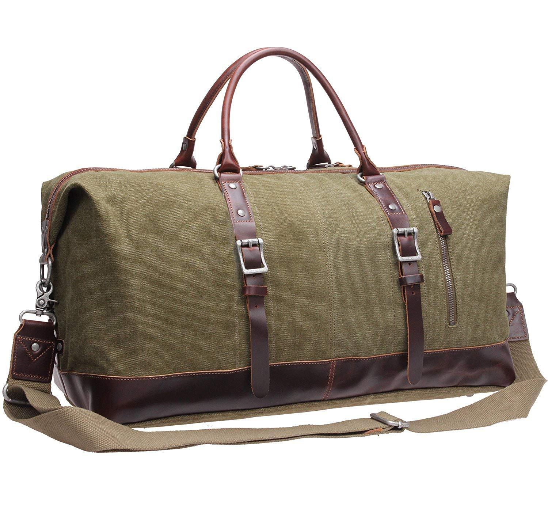 Iblue Genuine Leather Trim Travel Tote Duffel Garment Gym Shoulder Handbag Canvas Overnight Weekender Bag Large#B003(Xl 21'', Army Green)