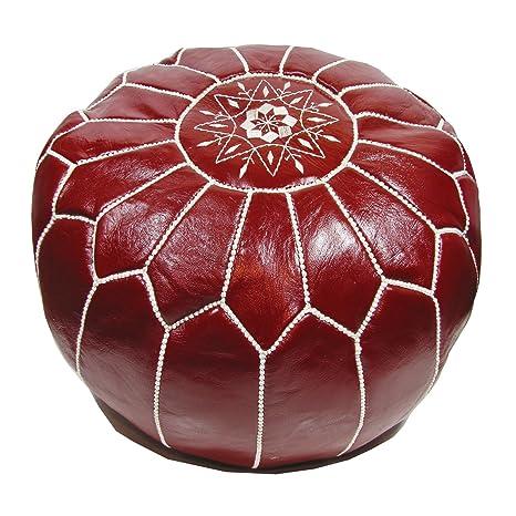 ALMADIH Pouffe Rojo otomano bordado Cojín de cuero genuino ...