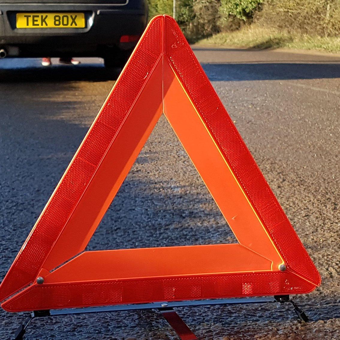 camion van TekBox voiture avertissement Triangle de s/écurit/é pliable en /étui de protection en plastique//Rouge R/éfl/échissant Hazard UE Panne durgence pour voiture camion